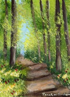"""Daily Paintworks - """"Forest Track ACEO"""" - Original Fine Art for Sale - © Janet Graham"""