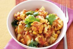 This Cauliflower, potato and chickpea curry, with a blend of fragrant spices, is warming and healthy.