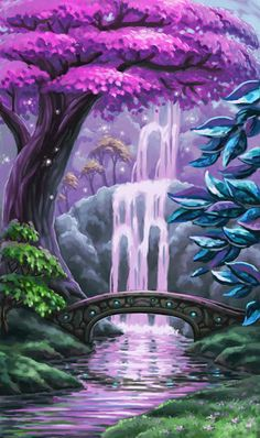 Purple Falls of Estelor. A special quartz that grows in the rock walls behind the falls makes it look purple.