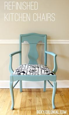 Painting and Re-upholstering our Mismatched Kitchen Chairs