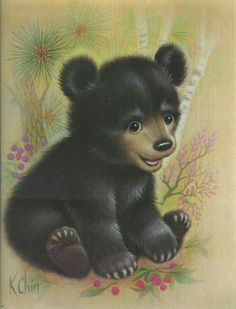 A Cute Little Bear Cub by M. Chin.