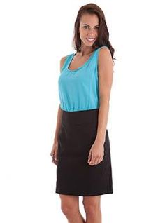 Blue Color Block Two Tone Office Wear Dress. lifeenjoyablesolutions.com