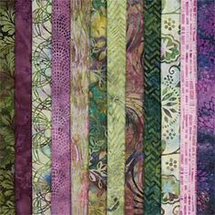 ZINNIA GARDEN BATIK FABRIC COLLECTION My favorite: green & purple batiks. Gorgeous!