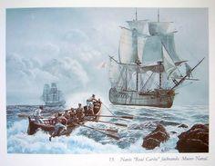 Navío Real Carlos 1787-1801 por González Aledo. Navío de línea de 112 cañones que se construyó según el proyecto de Romero Landa y pertenecía a la serie de los Santa Ana. En la noche del 12 al 13 de julio de 1801 los naviós Real Carlos y San Hermenegildo se tomaron como enemigos y se batieron en combate hasta que ambos navíos explotaron, llevándose consigo a casi 1700 hombres. Solamente se salvaron unos centenares, considerándose una de las mayores tragedias marítimas.