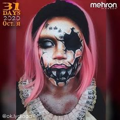 """October 31st finalist @ok.lydiaaa Thanks to our friends at @MehronMakeup Artist Inspo: """"The broken doll look is a Halloween classic so I decided to put a monstrous spin on it and make it haunted!"""" Products used: Paradise Makeup AQ and Barrier Spray #mehronmakeup #dollmakeup #brokendoll #haunteddoll #creepydoll #illusionmakeup #halloweenmakeup #halloween2020 #facepainting #creativemakeup Halloween Makeup Looks, Halloween Make Up, Mehron Makeup, Broken Doll, Haunted Dolls, Doll Makeup, Creepy Dolls, Professional Makeup, 31 Days"""