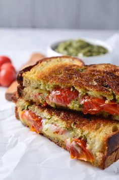 Roasted Tomato, Pesto & Smoked Provolone Grilled Cheese