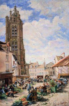 Ludovic Piette Le marché aux légumes, Pontoise, place du Petit Martroy. 1876 г.
