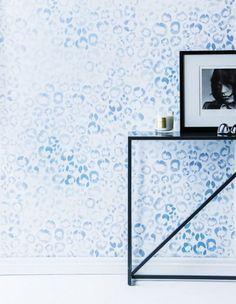 Sarah Ellison Wallpaper — cornflower leopard spots