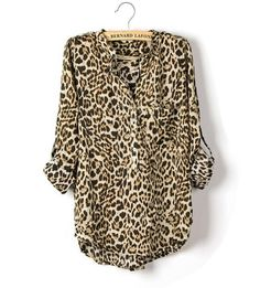 Leopard Chiffon Blouse Shirt.  Leopard print is growing on me...