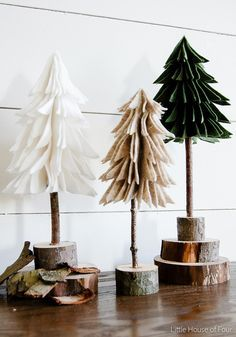 Sharing these adorable DIY Rustic Felt Christmas Trees @LittleHouseofFour: #DIY #Rustic http://www.littlehouseoffour.com/2015/11/diy-rustic-felt-christmas-trees.html?showComment=1449148727424