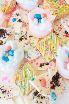 Easter Treats: Candy-Coated Rice Krispies, White Chocolate Bark and Cotton Candy Donuts