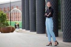 turtleneck with pastel blue trouser pants and block slingback heels