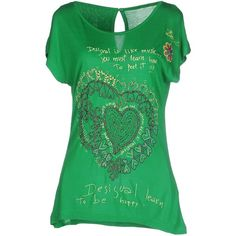 Desigual T-shirt ($74) ❤ liked on Polyvore featuring tops, t-shirts, green, jersey tops, logo t shirts, jersey tee, green jersey and short sleeve tee