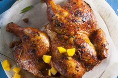 Paprika and mango spatchcocked chicken • This recipe uses a spicy mango sauce to give your summer Sunday roast a tropical touch.