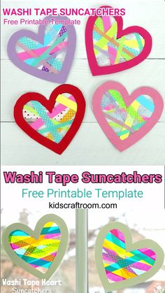 Gorgeous Heart Suncatchers A gorgeous heart craft for kids. This Washi Tape Heart Suncatcher craft is simple to make, self adhesive and looks amazing. A great Mother's Day or Valentine's Day craft for kids. Valentines Bricolage, Kinder Valentines, Valentine Crafts For Kids, Funny Valentine, Valentine's Day Crafts For Kids, Fun Crafts, Crafts For Children, Fun Projects For Kids, Kids Fun