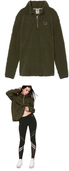 47dbf41417e86 Sweats and Hoodies 155226  Victoria Secret Pink Sherpa Sweater Quarter Zip  Pullover Olive Green Large -Nwt -  BUY IT NOW ONLY   79.95 on eBay!