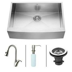 Vigo All-in-One Farmhouse Apron Front Stainless Steel 33x22x10 0-Hole Single Bowl Kitchen Sink-VG15004 at The Home Depot