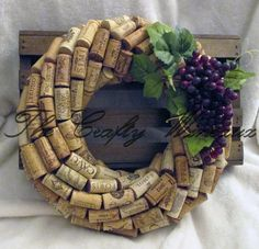 "Medium 13""- CHOOSE your GRAPES! 13"" Diameter Handmade Wine Cork Wreath, With Grapes Included, You Choose The Color!"