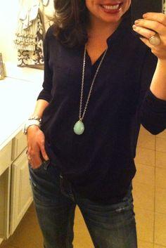 MUST HAVE shirt MUST HAVE jeans, Stella and Dot Sanibel pendant (LOVE!), MK White ceramic watch, and crystal bracelet! www.stelladot.com/ashleykoekkoek