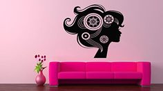 Wall Vinyl Sticker Decals Mural Room Design Pattern Art Hair Style Salon Woman Beauty bo1442