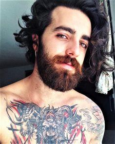 Hair and beard styles, long hair styles, chest piece, awesome beards, lon. Beard Styles For Men, Hair And Beard Styles, Long Hair Styles, Bangs Updo, Badass Beard, Long Hair Beard, Ginger Men, Awesome Beards, Chest Piece