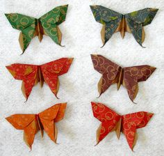Origami butterfly and more butterflies.