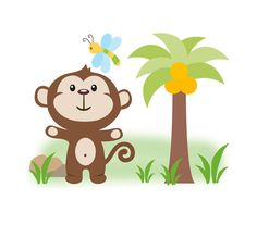 MONKEY DECAL STICKERS Safari Jungle Animal Boy Nursery Wall Mural Decor Childrens Bedroom Kids Room Playroom Decorations Baby Dragonfly Art #decampstudios