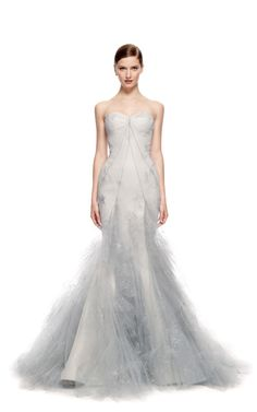 Hand Painted Tulle Strapless Ruffle Skirt Gown by Zac Posen