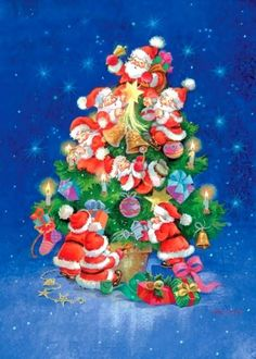 Sue Allison, A Christmas Tree Composed of Santas 2 Vintage Christmas Images, Retro Christmas, Christmas Pictures, Christmas Art, Christmas Greetings, Christmas Traditions, All Things Christmas, Holiday Fun, Christmas Decorations