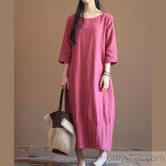 Pink New linen maxi dresses long sleeve spring caftan dress
