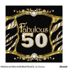 Fabulous 50 Zebra Gold Black Floral Diamond Card