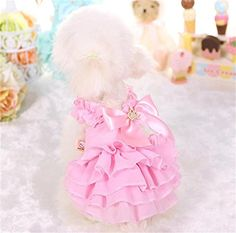 PetsLove Pet Dresses Doggie Skirt Princess Cat Clothes Dog Dress Apparel Pink XS *** Check out this great article.
