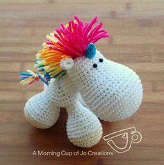 Hugo the Unicorn amigurumi crochet pattern by A Morning Cup of Jo Creations