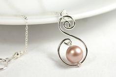 Beige Pearl Necklace Wire Wrapped Jewelry by JessicaLuuJewelry