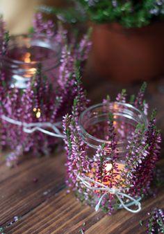 Natur-Teelichter mit Heidekraut