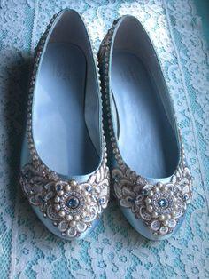 OMG!! So Marie Antoinette! Wreath of Gold Bridal Ballet Flats Tiffany Blue Wedding Shoes