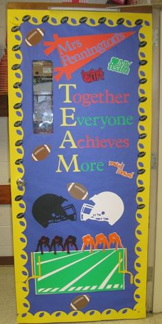 sports theme classroom | used the following cartridges on this door: