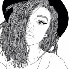 Images of black outline drawings - Tumblr Girl Drawing, Tumblr Drawings, Tumblr Art, Tumblr Girls, Tumblr Outline, Outline Art, Outline Drawings, Cute Drawings, Girl Drawings