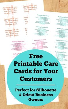 Free Printable Care Cards For Your Silhouette Or Cricut