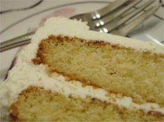 AWESOME VANILLA CAKE....less is really more with this recipe. This cake is light fluffy and amazing.