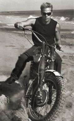 Brad Pitt on a vintage dirt bike #MOTORCYCLE #BIKERS #MOTORCYCLEFEDERATION