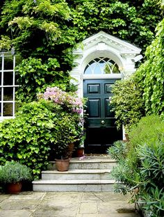 Black door, white trim, lush vines