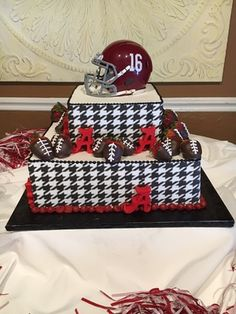 www.confectionperfectioncakes.com  #groomscake #cakesatlanta #cakesmarietta #weddingcake #customcakes #atlantacustomcakes #mariettacustomcakes #confectionperfection #alabamacake #footballcake #houndstoothcake
