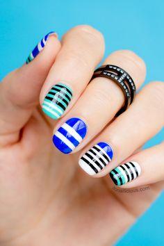 Alexander Wang Nails. Freehand Linear Nail Art - HOW-TO: http://sonailicious.com/mbfwa-nails-2-alexander-wang-nail-art/stripey nail art