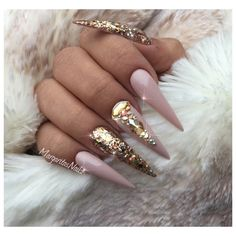 Nude And Gold Stiletto Nails by MargaritasNailz