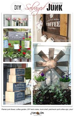 PJ 332 - DIY salvaged junk - DIY herb crates, coffee junk garden, patchwork quilt coffee sign, chair back garden flag, salvage style boy's bedroom, plus!