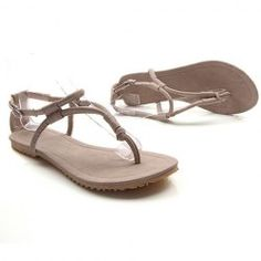 Stylish Casual Women's Sandals With Solid Color PU Leather and Flip-Flop Design