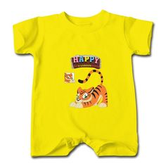 Happy Little Tiger Yellow Cute T-romper For Baby Shop-Funny Clothing price as low as $5.99,Choose from tons of designs to customize your own t-shirts. Customized shirt make great gifts.