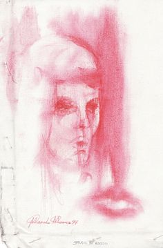 STUDY IN RED (Cyril).  Watercolour on canvas, cm 26 x 17.
