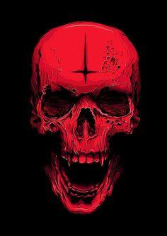 Blood red skull in acrylic - Small canvas painting Dark Fantasy Art, Dark Art, Skull Wallpaper, Iphone Wallpaper, Skull Stencil, Small Canvas Paintings, Totenkopf Tattoos, Satanic Art, Skull Pictures